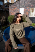 Long Sleeved T-Shirt In Army With Repeat Logo Embroidery