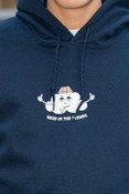 Heavyweight Navy Hoodie with Head In The Clouds Print