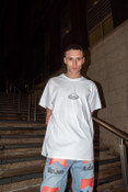 T-shirt In White With Oval Logo Embroidery