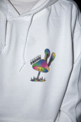 Heavyweight Hoodie in White with Planet Tripsies Print
