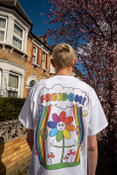 Short Sleeved T-Shirt in White with Freedom Rainbow print