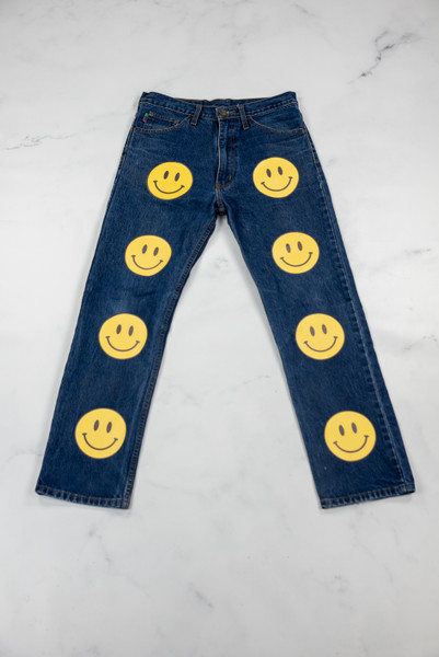 Reworked Vintage Levis Smiley Denim Jeans
