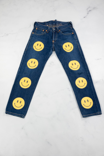 Reworked Vintage Blue Levis Smiley Denim Jeans