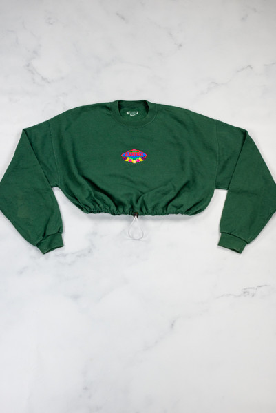 Reworked Vintage Green Cropped Sweatshirt