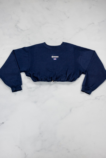 Reworked Vintage Navy Dream Sport Cropped Sweatshirt