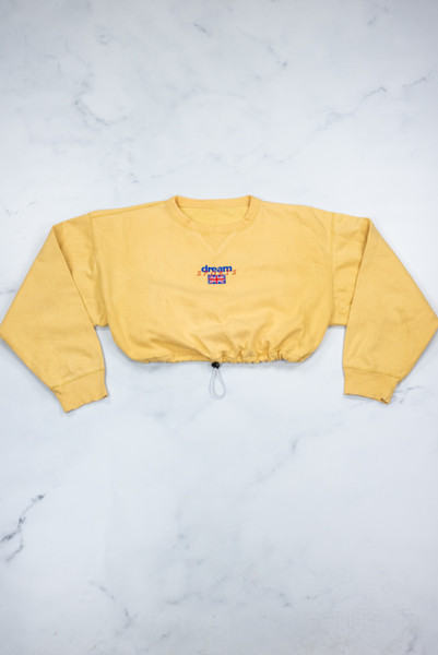 Reworked Vintage Yellow Cropped Sweatshirt