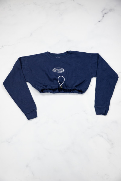 Reworked Vintage Navy Oval Logo Cropped Sweatshirt