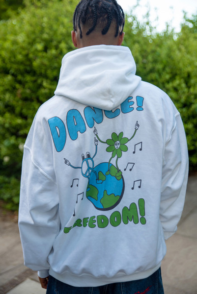Hoodie in White with Worldwide Freedom print