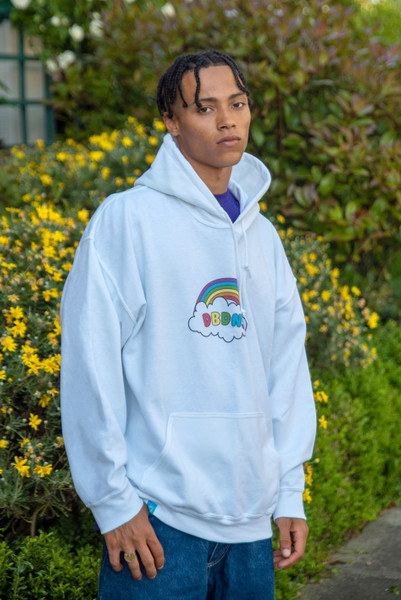 Hoodie in White With Freedom Rainbow Print