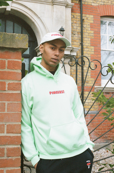Hoodie in Mint With Pingers Embroidery