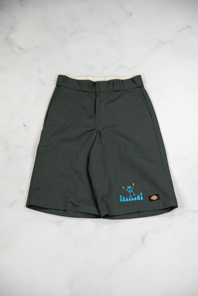 Reworked Vintage Grey Dickies Shorts with Freedom Print
