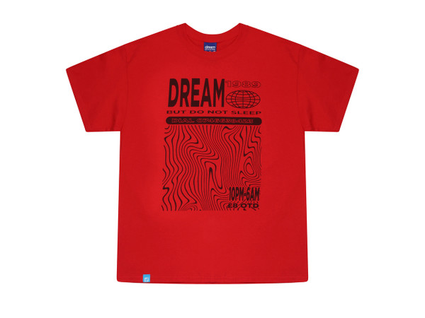 Red Short Sleeved T-shirt With Dream Globe Rave Flyer Graphic