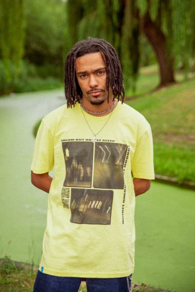 Short Sleeve Tshirt in Yellow with Ghost Town Print
