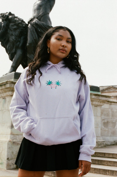 Hoodie in Lilac with Palm Tree Embroidery