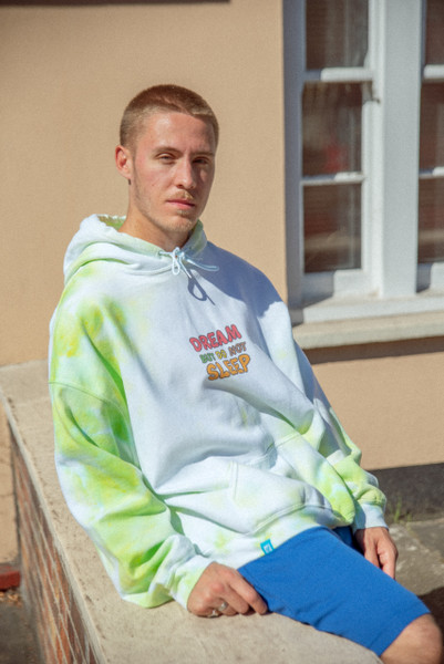 Tie Dye White hoodie with Bubble Logo print