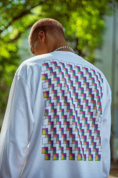 Long Sleeve Tshirt in White with Square Geometric Logo Print