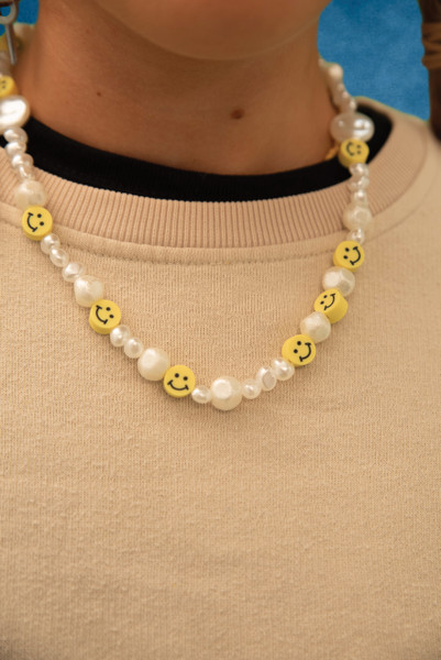 Pearl and Smiley Beaded Unisex Necklace