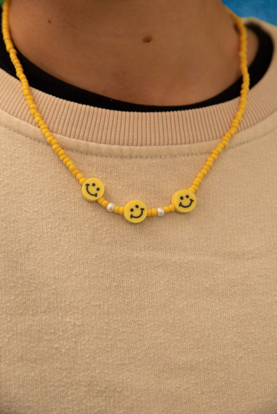 Yellow Beaded Smiley Unisex Necklace