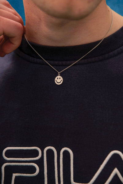 Sterling Silver Smiley Unisex Necklace