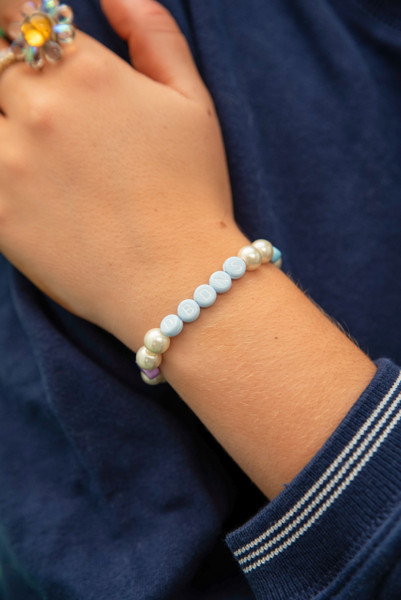Pastel and Pearl Unisex Beaded DBDNS Bracelet