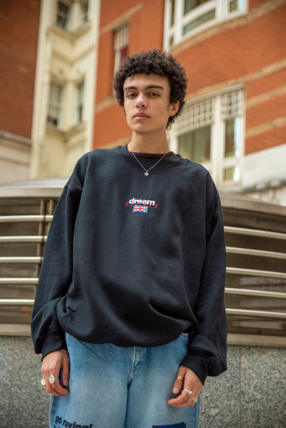 Black Sweatshirt With Dream Sports Embroidery
