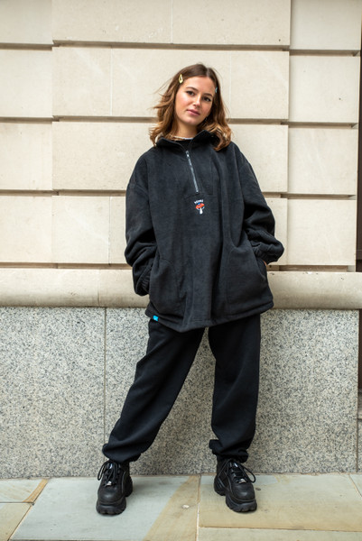 Fleece In Black With Bro Shroom Embroidery