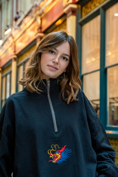 1/4 Zip Sweatshirt With Chinese Dragon Embroidery