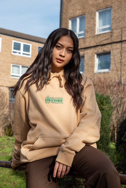 Hoodie in Tan with Three Type Logo Embroidery