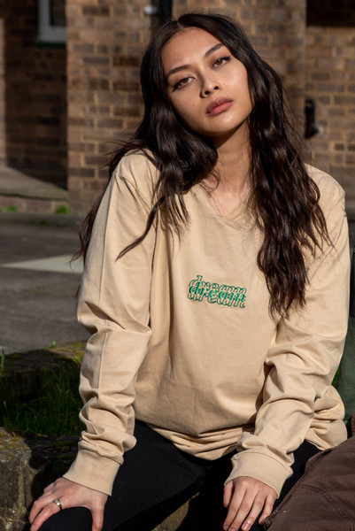 Long Sleeved T-Shirt In Tan With Three Type Logo Embroidery
