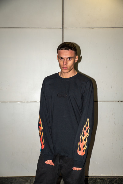 Long Sleeved T-Shirt in Black with Embroidered Tonal Logo and Flame Print Sleeves