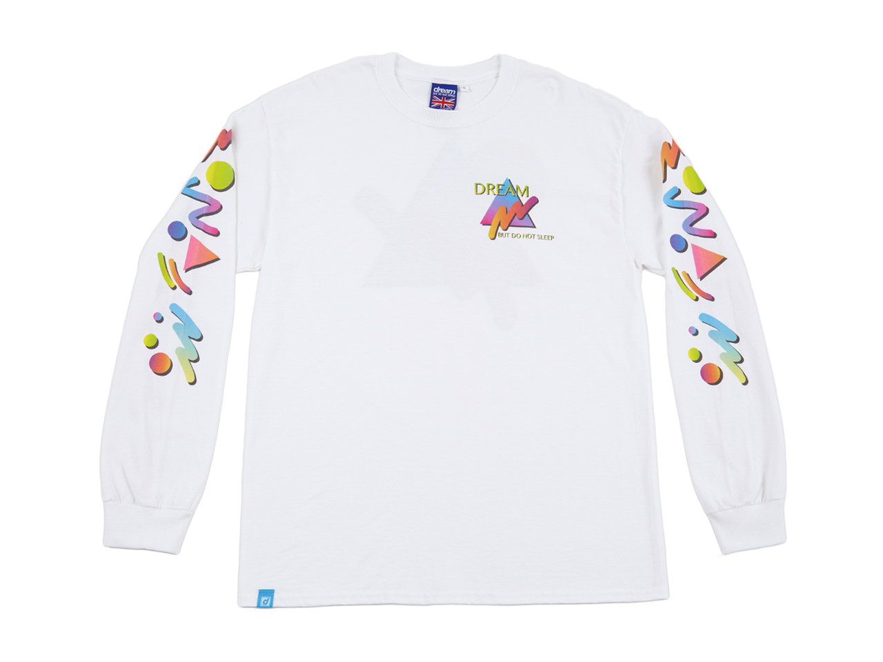 35664a86 Colourful 90s Gradient Design On White Long Sleeved T-shirt - Dream ...