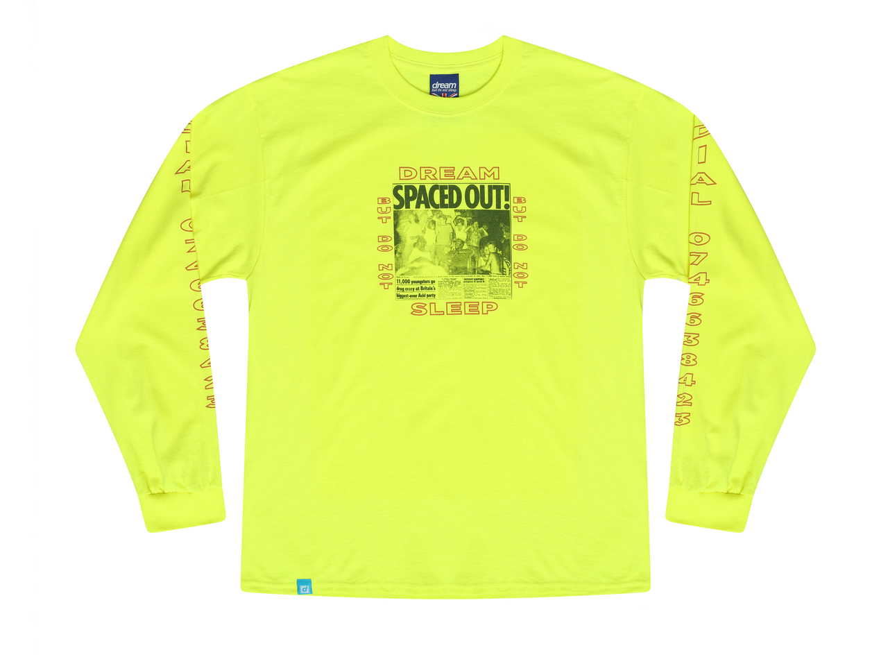 a29534e78 Safety Green Long Sleeved T-shirt With Spaced Out! Design - Dream ...