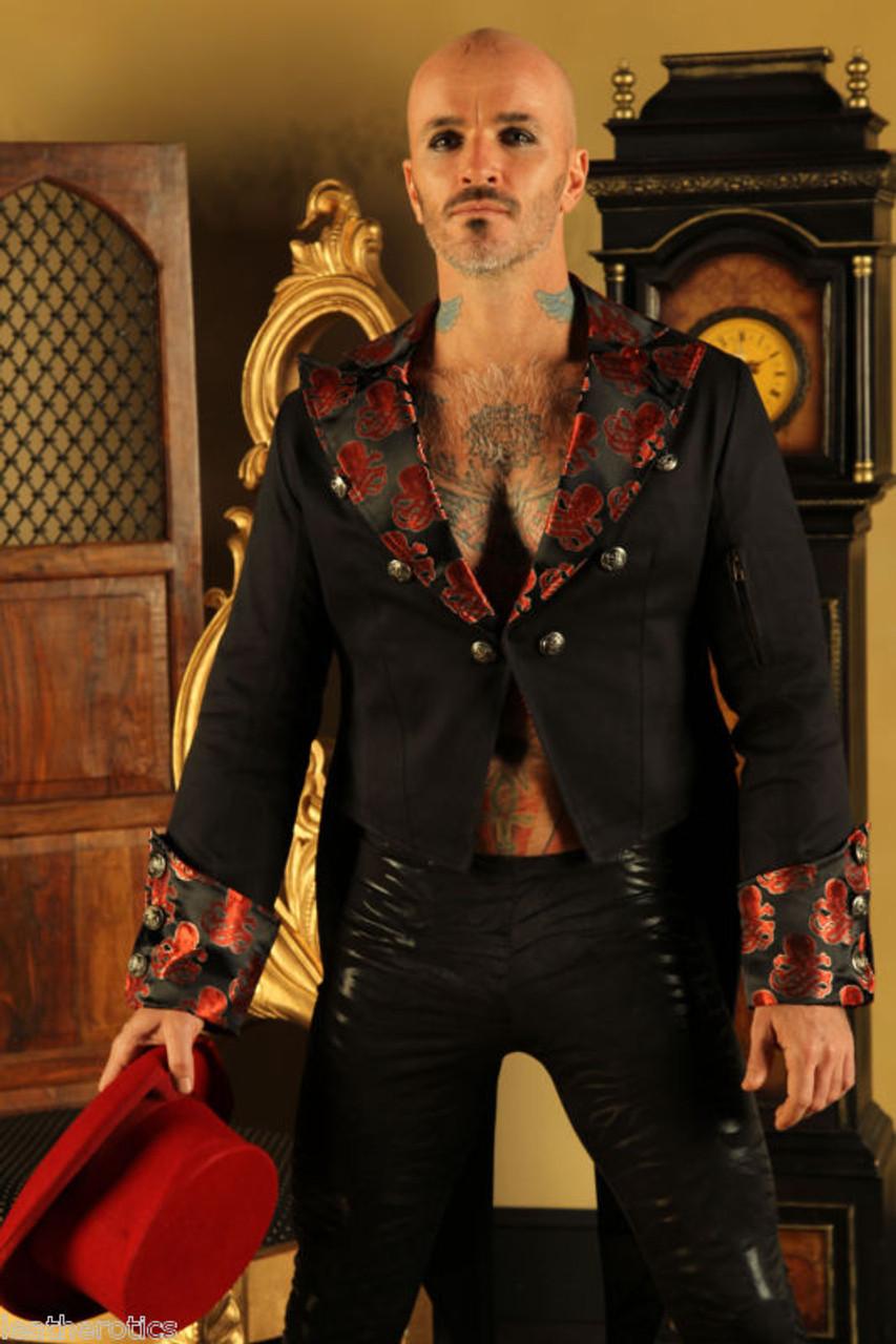 Herren Baumwoll Frack Hochzeit Rot Steampunk Vintage Jacke Kleid Mantel STPGR