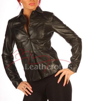 Schwarzes Lederkleid Shirt Jacke BG2