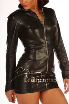 Edle schwarze Leder-Minikleid-Spitzenjacke img4