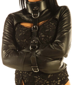 Bondage-Zwangsjacke aus Leder mit Gurt Fesseln SM