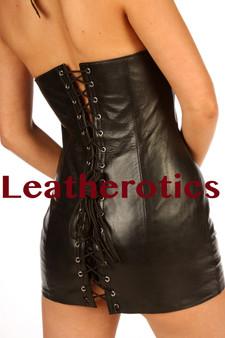 Leder Minikleid Erotisches Sexy Top img2