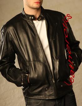 Herren Leder Fashion Jacke Ziegenhaut Weich Geschmeidig Hohe Taille AZ