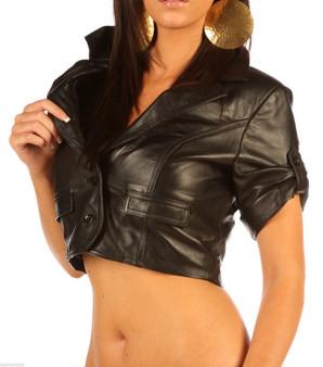 Echt-Leder Stilvolle hohe Taille Taille Mantel Top 1283 image 2