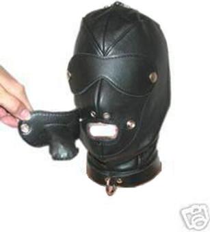 Bondage-Sklavenmaske aus Leder mit Gurt BDSM
