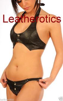 Leder Bikini Set BH Unterwäsche Slip Hot mit Baumwollfutter String
