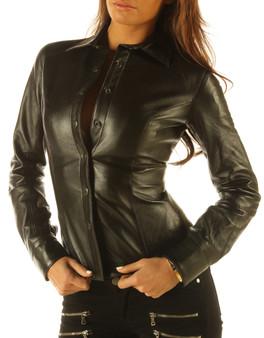 Damen Soft Leder Shirt Top Bekleidung Lange Vollärmel