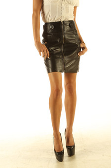 Full Grain black Leather pencil style skirt pic 3