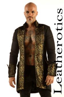 Schwarzes Baumwoll Gothic Steampunk Vintage Kleid Mantel Piraten Militär Top SPSL image 2