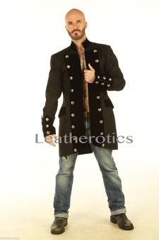 Schwarzes Baumwoll Gothic Steampunk Vintage Kleid Mantel Piraten Militär Top SPVL
