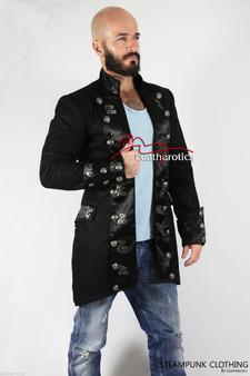 Schwarzes Baumwoll Herren Gothic Steampunk Outfit Vintage Kleid Mantel Piraten Top SPFL