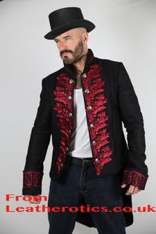 Herren Frack Morgen Anzug Viktorianische Jacke Rot STP 7