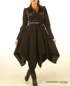 Leder Frack Gothic Steampunk Morgenkleid Anzug Mantel STPGL