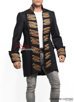 Schwarzes Baumwoll Steampunk Vintage Kleid Pirate Military Top