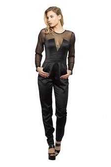 Sommer Jumpsuit Playsuit Catsuit Kleid mit Netzarmen Schwarz  2